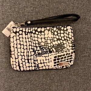 NWT express small black and white print wristlet